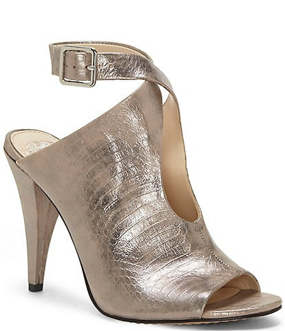 Vince Camuto Aveeria Tear Drop Metallic Leather Snake Print Cone Heel Peep Toe Shooties