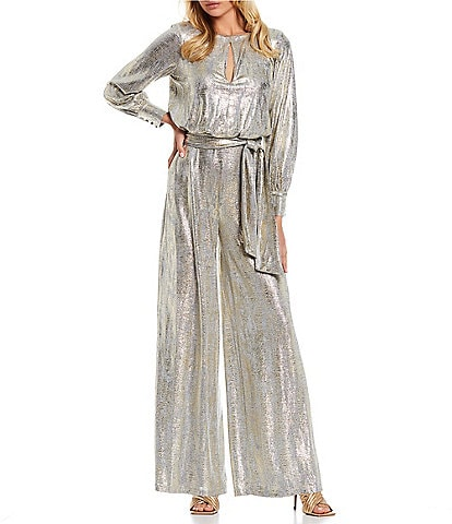 Vince Camuto Keyhole Neck Long Sleeve Belted Metallic Knit Jumpsuit