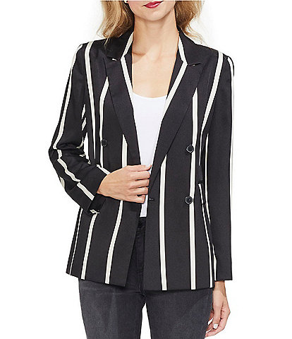 Vince Camuto Bold Stripe Double Breasted Blazer Jacket