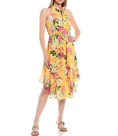 Vince Camuto Bow Halter High-Low Floral Sleeveless Chiffon Dress
