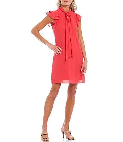 Vince Camuto Bow Neck Ruffle Sleeve Chiffon Dress