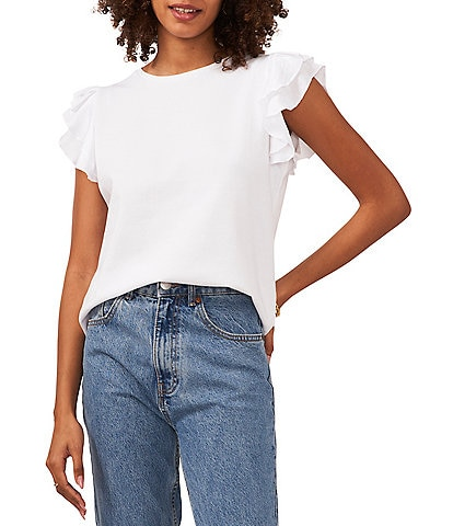 Vince Camuto Cap Ruffle Sleeve Crew Neck Knit Top