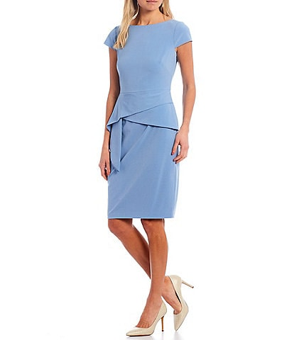 Vince Camuto Cap Sleeve Foldover Waist Bi-Stretch Sheath Dress
