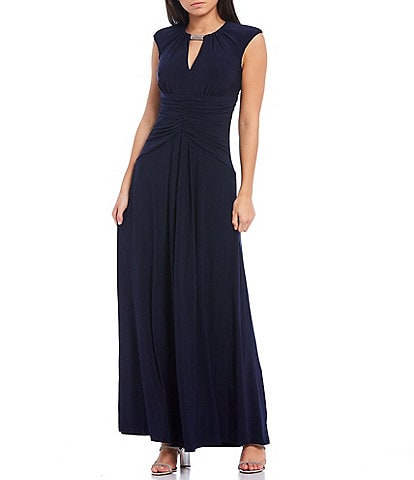 Vince Camuto Cap Sleeve Keyhole Neck Ruched Waist Long Gown