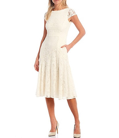 Vince Camuto Cap Sleeve Lace A-Line Midi Dress