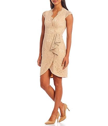 Vince Camuto Cap Sleeve Scallop V-Neck Wrap Metallic Lace Dress