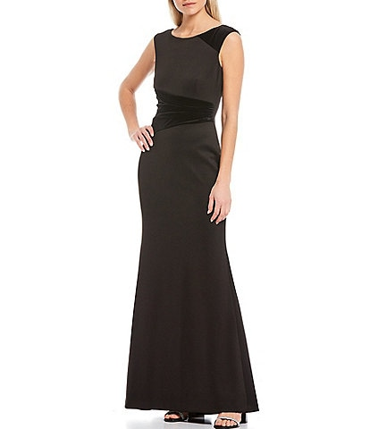 Vince Camuto Cap Sleeve Velvet Accent Gown