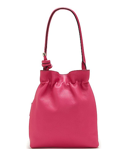 Vince Camuto Cayra Leather Ruched Snap Hobo Bag