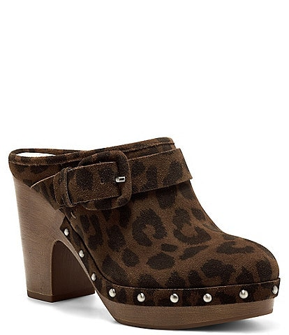 Vince Camuto Ceena Studded Leopard Print Suede Slip-On Mules