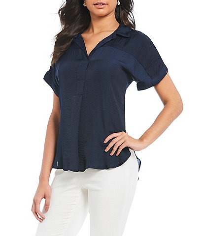 Vince Camuto Collared Henley Blouse