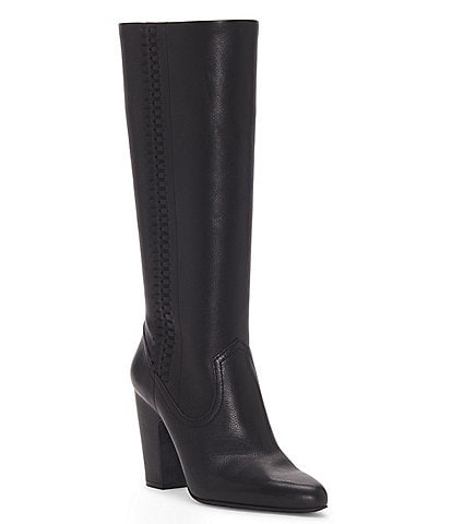 Vince Camuto Coranna Tall Leather Laced Side Eyelet Block Heel Boots