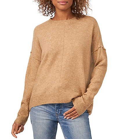 Vince Camuto Crew Neck Long Sleeve Extended Shoulder Seamed Cozy Sweater