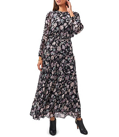 Vince Camuto Crew Neck Long Sleeve Smocked Waist Blooms Floral Print Tiered A-Line Chiffon Maxi Dress