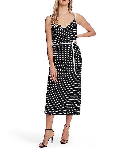 Vince Camuto Delightful Dots Rope Belt Sleeveless Midi Slip Dress