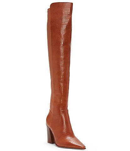 Vince Camuto Demerri Over-The-Knee Croco Leather Boots