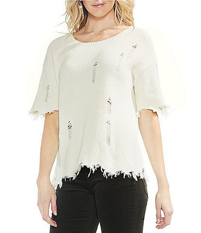 Vince Camuto Distressed Knit Top