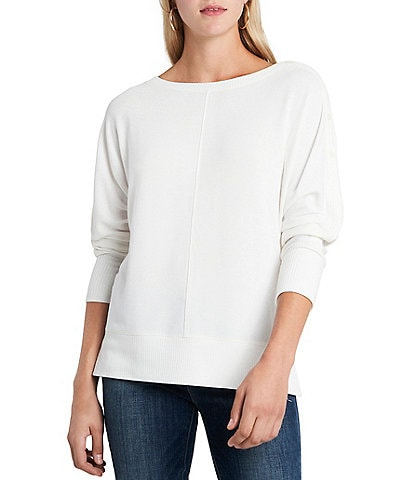 Vince Camuto Dolman Sleeve Button Trim Slouchy Knit Pullover Top