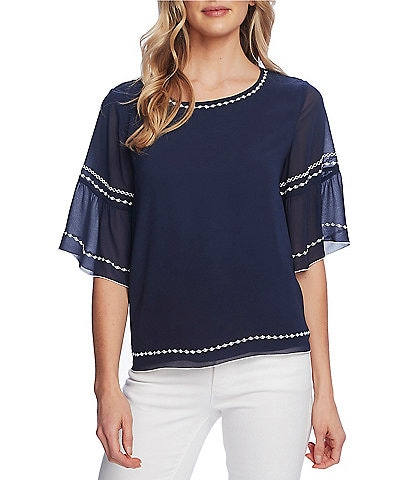 Vince Camuto Elbow Sleeve Embroidered Chiffon Blouse
