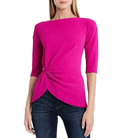 Vince Camuto Elbow Sleeve Gathered Side Knit Crepe Top