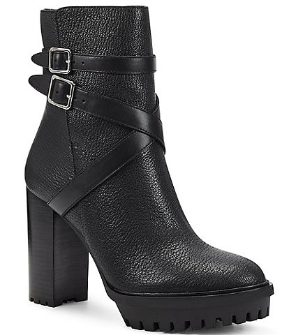 Vince Camuto Elisen Leather Platform Lug Sole Booties
