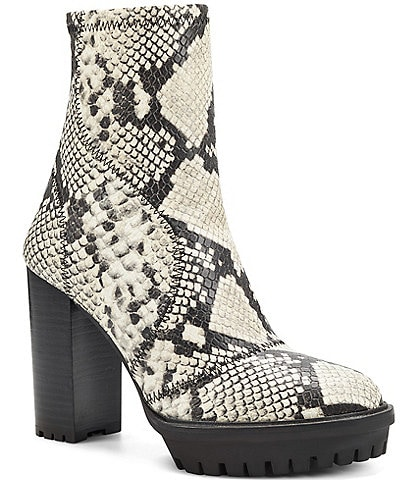 Vince Camuto Erettie Snake Print Stretch Lug Sole Block Heel Booties