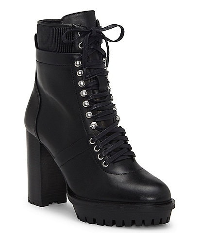 Vince Camuto Ermania Leather Platform Hiker Block Heel Boots