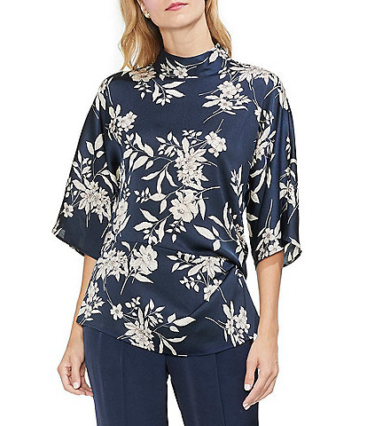 Vince Camuto Etch Bouquet Floral Print Ruched Side Mock Neck Blouse