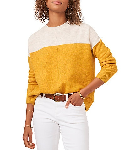 Vince Camuto Extended Shoulder Crew Neck Color Block Long Sleeve Cozy Statement Sweater