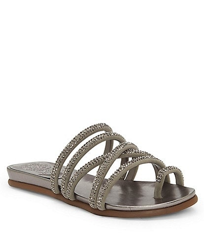 Vince Camuto Ezzina Jewel Embellished Suede Toe Thong Sandals