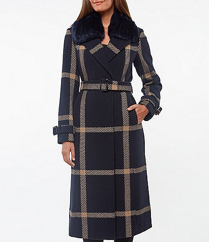 Vince Camuto Faux Fur Collar Belted Windowpane Plaid Wool Blend Wrap Coat