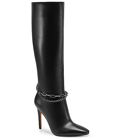 Vince Camuto Felinda Ankle Chain Leather Tall Dress Boots