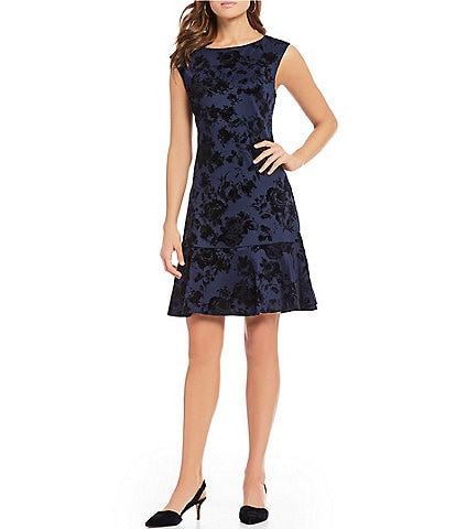 Vince Camuto Flocked Rose Flounce Hem A-Line Dress