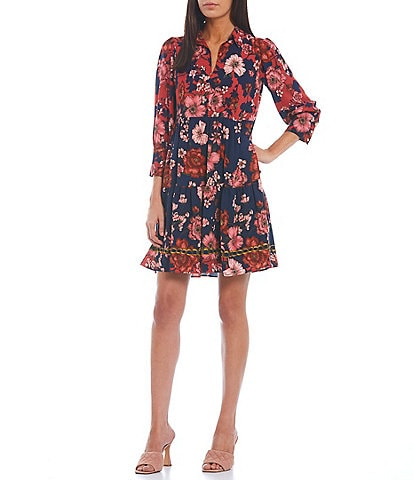 Vince Camuto Floral Point Collar 3/4 Sleeve Shirt Dress