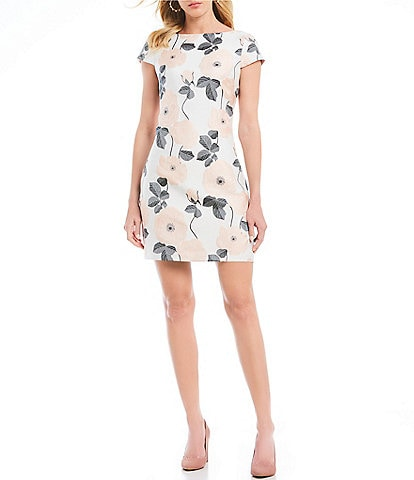 Vince Camuto Floral Print Cap Sleeve Jacquard Bateau Neck Shift Dress
