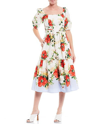 Vince Camuto Floral Print Square Neck Puff Sleeve Cotton Blend Midi Dress
