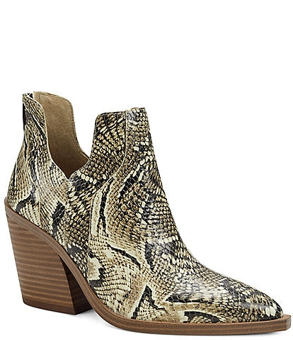 Vince Camuto Gannilla Snake Print Leather Western Booties