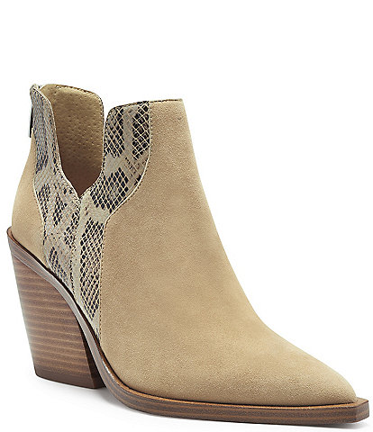 Vince Camuto Gannilla Suede and Snake Print Leather Western Booties