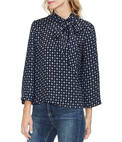 Vince Camuto Geo Accent Tie Mock Neck Blouse
