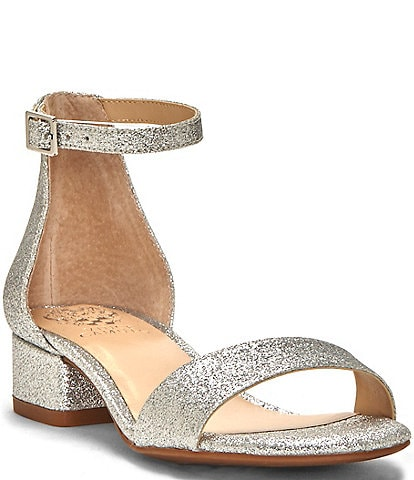 Vince Camuto Girls' Pascala Glitter Ankle Strap Block Heel Sandals Youth