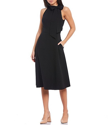 Vince Camuto Halter Bow Neck Sleeveless Midi Dress with Side Seam Pockets