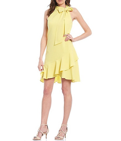 Vince Camuto Halter Bow Neck Sleeveless Ruffled Shift Dress