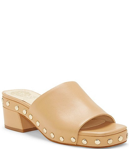 Vince Camuto Haniya Studded Leather Square Toe Mules