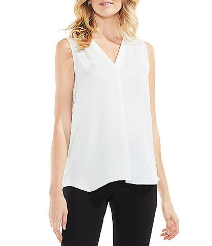 Vince Camuto Invert Pleat V-Neck Sleeveless Rumple Blouse