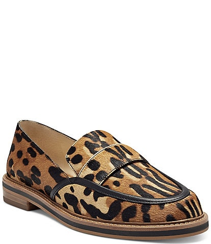 Vince Camuto Jorda3 Leopard Print Haircalf Loafers