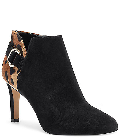 Vince Camuto Leeva3 Suede and Animal Print Haircalf Booties