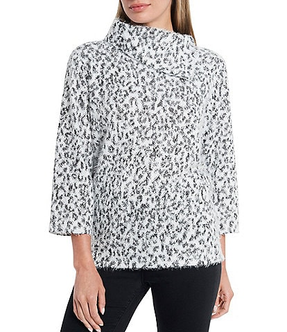 Vince Camuto Leopard Envelop Neck 3/4 Sleeve Eyelash Pullover Top