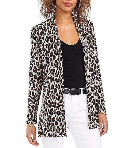 Vince Camuto Leopard Print Long Sleeve Tunic Knit Statement Cardigan
