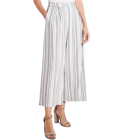 Vince Camuto Linen Blend Striped Culotte Pants