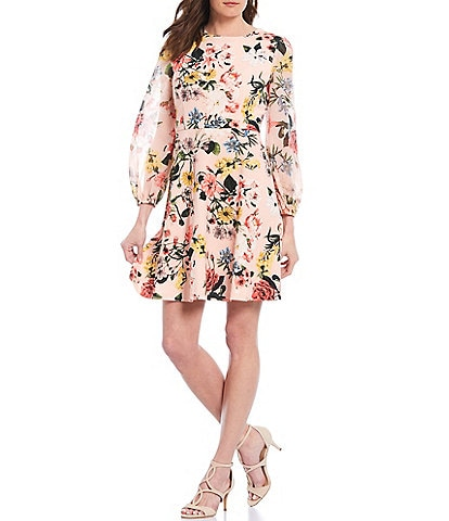 Vince Camuto Long Balloon Illusion Sleeve Floral Print Chiffon Fit And Flare Dress