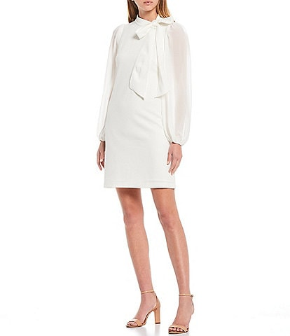 Vince Camuto Long Chiffon Sleeve Bow Neck Shift Dress